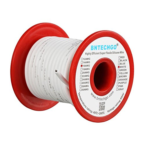 BNTECHGO 16 Gauge Silicone Wire Spool White 25 feet Ultra Flexible High Temp 200 deg C 600V 16 AWG Silicone Rubber Wire 252 Strands of Tinned Copper Wire Stranded Wire for Model Battery Low Impedance (White 16g Wire)