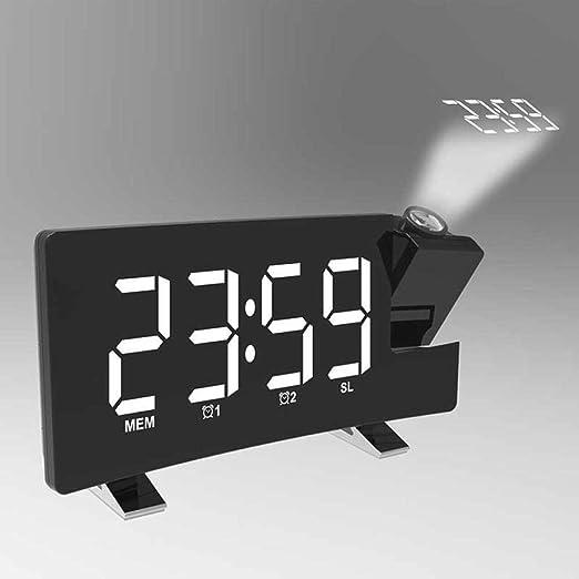 DZXYW Reloj Despertador Reloj LED Digital Proyector Proyección ...