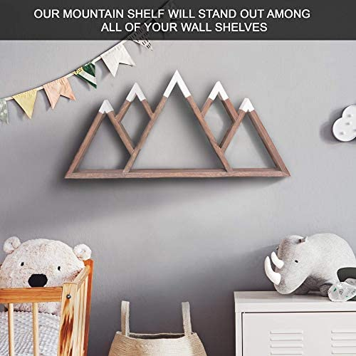 Wooden 4-Peak Rustic Mountain Shelves Gift Essential Oil Shelf Nursery Shelves- Wooden Shelves Geometric Shelves Natural Wall Art