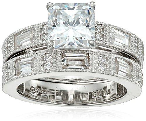 (Platinum-Plated Sterling Silver Swarovski Zirconia Princess Round Baguette 2 Set Ring, Size 6)