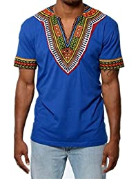 Men's Short Sleeve Casual Dashiki Style T-Shirt African Blouse Tops