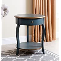 Round Abbyson End Table With Storage Drawers Side Table With Under Storage Shelf Room Décor Coffee Table Blue Cocktail Table Furniture Table Top TV Table