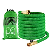 Expandable Garden Hose - 50 Feet Green - Extra Strong Stretch Material with Brass Connectors - Bonus 8 Way Spray Nozzle, Carrying Bag and Hanger - by Joeys Garden