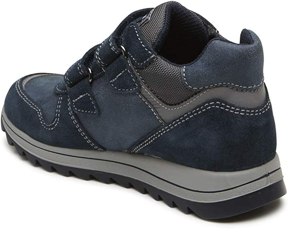 US Customer Support Shipped for US Warehouse PTH 23901 Leather and Suede Boys Imported from Italy Sneakers Primigi Boys Bootie Navy Blue and Grey