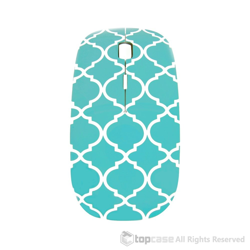 Amazon.com: TopCase Quatrefoil/Moroccan Trellis Series Hot Blue/Turquoise USB Optical Wireless Mouse for MacBook (pro, air) and All Laptop + TopCase ...