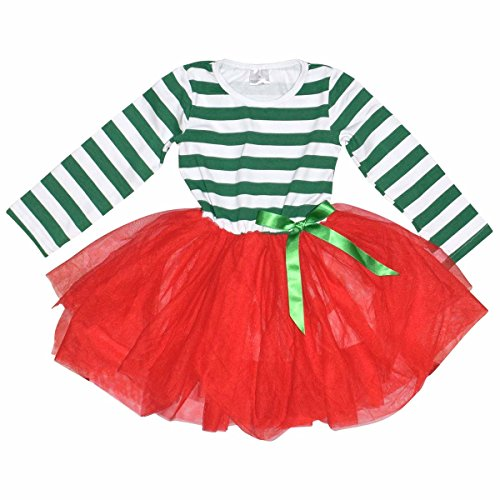 Elf Outfit For Toddler (Unique Baby Girls Christmas Dress with Tutu (4T/M, Red & Green))