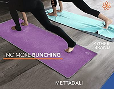 Mettadali Yoga Towel, NEW Anchor Fit Corners, 100% Satisfaction Guarantee! Stop Slipping During Bikram, Vinyasa & Hot Yoga Classes, Machine Washable Microfiber - Choose Your Color & Exact Mat Size