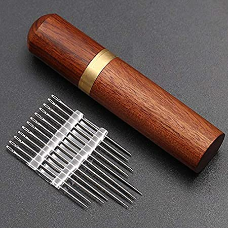 Hand Sewing Needles Stainless Steel Self-Threading Needles Opening Sewing Darning Needles Set with Versatile Wooden Needle Case for Stitching Sewing Embroidery Wgch Sewing Needles