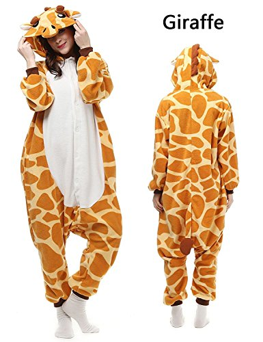 ABING Halloween Pajamas Homewear Onepiece Onesie Cosplay Costumes Kigurumi Animal Outfit Loungewear,Giraffe Adult S -For height 150-158cm (Teen Costumes Couples)