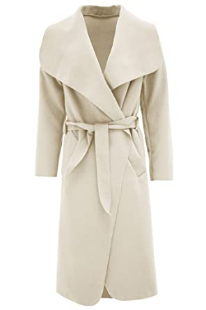 Women Ladies Italian Long Duster Jacket French Belted Trench