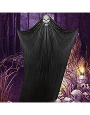 Mopoin Hangende geesten, Halloween hangend geest, deurgordijn, decoratie, Halloween, griezelig, binnen, buiten, decoratie, spookhuis, Halloween, feestaccessoire (zwart)