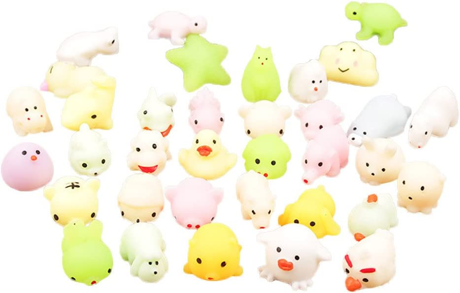 D/écoration pour t/él/éphone portable Porte-cl/és Lot de 5 jouets antistress Pour enfants adorable mochi lumineux en forme de chat Jouet Kawaii couleur al/éatoire
