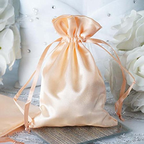 c24bfcbf9f5f Efavormart 12PCS Peach Satin Gift Bag Drawstring Pouch Wedding Favors  Bridal Shower Candy Jewelry Bags - 4