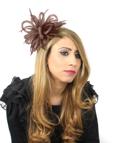 Mini Crin Feather Fascinator - Brown by Hats By Cressida