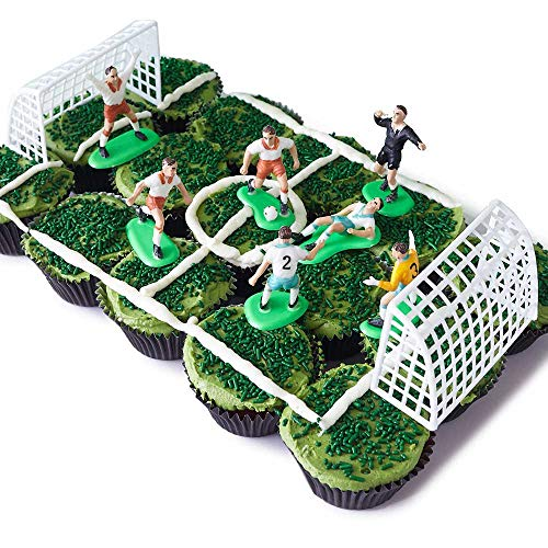 Soccer Team Cupcake Display Kit - (7) Soccer Player Toppers, Goalies, Soccer Ball, Referee, (2) Nets, (3.2 oz) Green Sprinkle Jimmies, (30) Black Cupcake Liners World Cup US Mexico]()