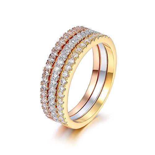 Serend 18k Rose/Yellow Gold/Platinum Plated CZ Simulated Diamond 3pcs Stackable Eternity Rings Set, Size 6