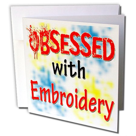 Blonde Designs Obsessed With - Obsessed With Embroidery - 1 Greeting Card with envelope (gc_241611_5) (Lettering Embroidery Card)