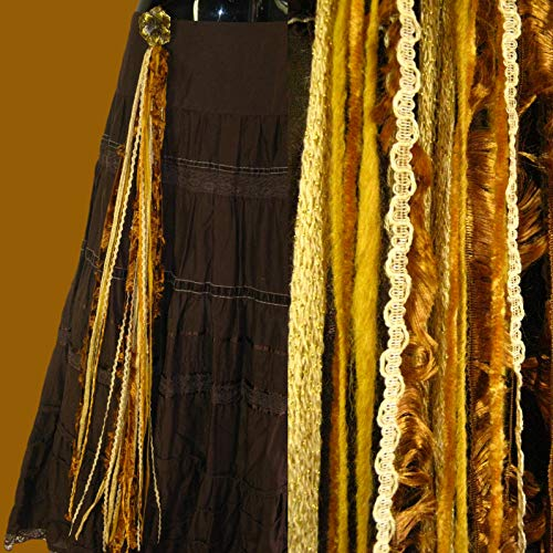 - Steampunk Yarn Falls GOLDEN AGE hip & hair tassels pair with $ 5 discount Neo-Victorian costume accessory Tribal Fusion yarn extensions Belly Dance hair jewelry Fantasy pirate & gypsy hair jewelry