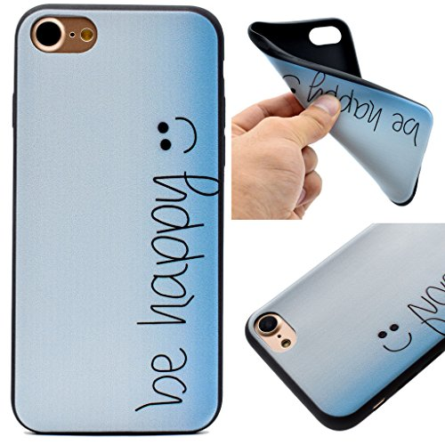 """Coque iPhone 7 Plus, IJIA Ultra-mince Noir Heureux (be happy) TPU Doux Silicone Bumper Case Cover Coque Housse Etui pour Apple iPhone 7 Plus (5.5"""") + 24K Or Autocollant"""