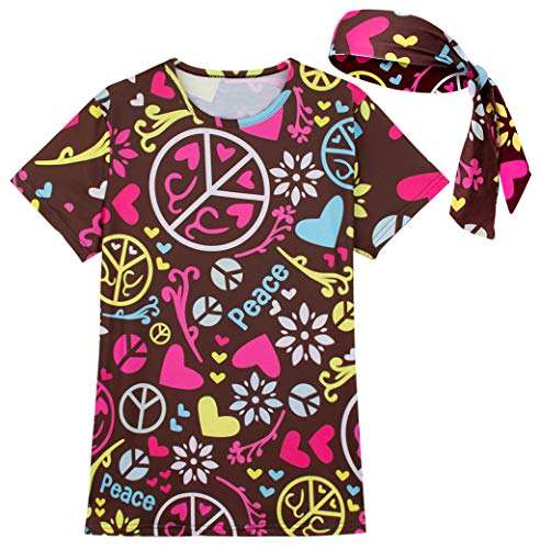 Funny World Women's 1970s Groovy Hippie Costume T-Shirts with Headband (XL, - Shirt Hippie 1970s