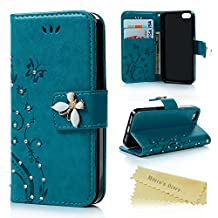 Iphone 5S,Iphone 5 Wallet Case - Mavis's Diary 3D Handmade Bling Crystal Diamonds Butterfly Fashion Floral PU Leather with Hand Strap Magnetic Clasp Card Holders for Iphone 5S & Iphone 5 - Blue