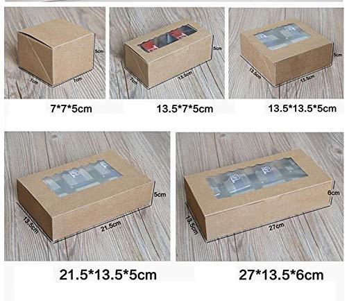 Ranggrgt 10Pcs Kraft Box Paper Cake PVC Window Craft Jewelry Box, Packing Cardboard Box,Blue Wedding Favors Gift Cookie Box for Candy Fluorescence Yellow 215x135x50mm