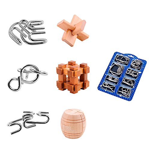 Brain Teasers Puzzle Game, ZUINIUBI IQ Mind Test Disentanglement Puzzles Party Favor-Metal Wire 3D Wooden Puzzle Toys for Kids Adults 14pcs Great for Stress and Anxiety Relief