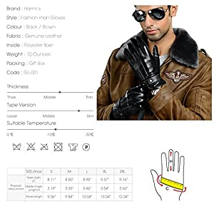 "Harrms Best Luxury Touchscreen Italian Nappa Leather Gloves for men's Texting Driving Cashmere Lining (S-8.1""(US Standard Size), BLACK(Cashmere Lining ))"
