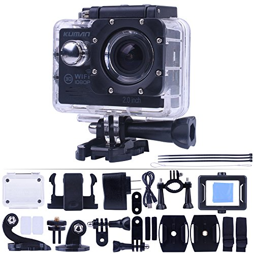 Kuman 4 K WiFi Sport Action Camera 1080p 60fps 12MP 2.0 LCD 1080P 170 Degree Wide Angle Waterproof Cam DV Camcorder for Outdoor Bicycle Motorcycle Diving Swimming Sliver MH23
