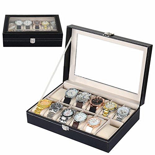 Wuligirl 12 Mens Large Watch Box Display Jewelry Case Organizer Box Pu Leather Glass Top, Black (12 Slot) - Jewlery Box Divider