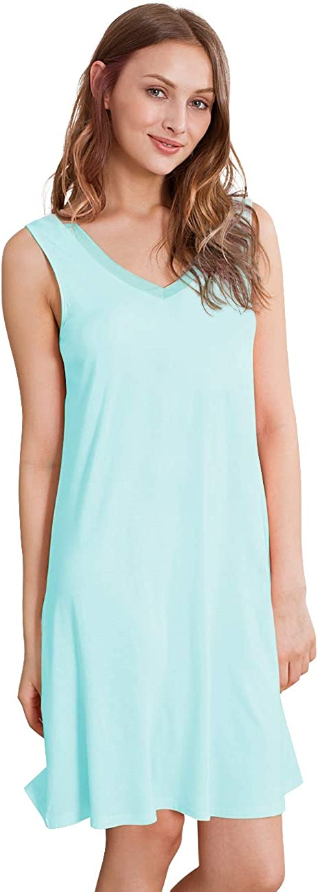 4XL WiWi Sleeveless Nightgown Womens Bamboo Scoop Neck Sleepwear Dress Lace Trim Chemise S-XXXXL