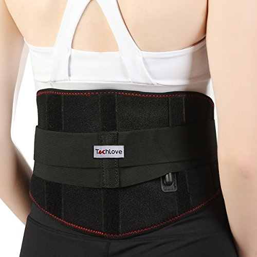Heated Lumbar Lower Back Brace Heat Therapy Wrap Waist Warmer by Techlove with Moxa Bag for Men and Women Relieve Herniated Disc, Sciatica and Dysmenorrhea (Black) by Techlove