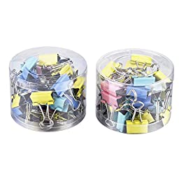 Mudder Assorted Colors Mini Organize Metal Paper Binder Clips, 2 x 60 Pieces (15mm)