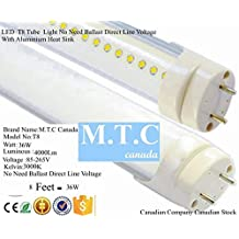 LED T8 8 Feet Tube Light 36W 4000lm 3000K No Need Ballast Direct line Voltage 85V-265V Extra Bright Pack Of 30 Pcs Each Tube Will Cost $23.00 Cad , Canadian Company Canadian Stock