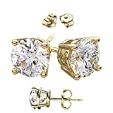 14 Karat Gold Overlay on Solid Silver Earrings. Top Quality Cubic Zirconia Round Stones