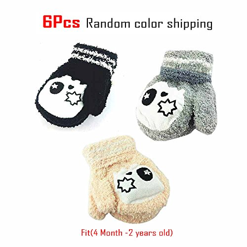 COFFLED Pack of 3 Soft Microfiber Infant Cute Gloves ,Cartoon Winter Gloves for 4 Moths and 2 Years Old Baby Color Send out Randomly