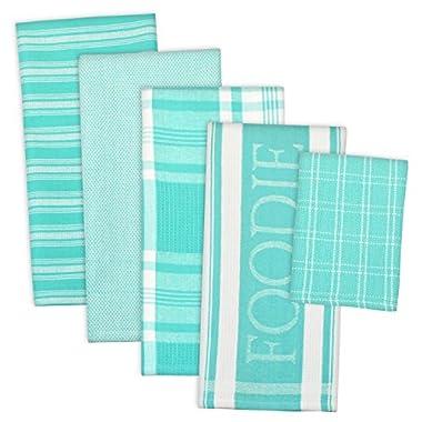 DII 100% Cotton, Ultra Absorbent,  Washing, Drying, Foodie Kitchen Dishtowel 18 x 28  & Dishcloth 13 x 13 ,  Set of 5-  Aqua