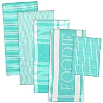 DII Assorted Decorative Kitchen Dish Towels & Dish Cloth Foodie Set, Ultra Absorbent for Washing and Drying (Towels 18x28