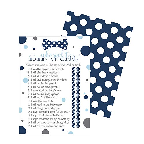 Bow Tie Guess Who Baby Shower Game - 25 Pack - Navy and Grey