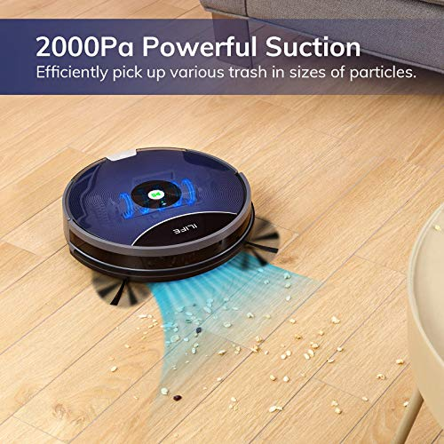 ILIFE A80 Max Robot Vacuum, 2000Pa Max Suction, Wi-Fi Connected, Cellular Dustbin, 2-in-1 Roller Brush, Self-Charging, Slim and Quiet, Ideal for Hard Floors to Medium-Pile Carpets.