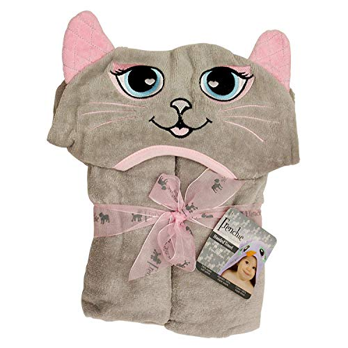 Cat Style Towel with a Hood in The Middle 40 x 30 inch, Frenchie Mini Couture (Hooded Baby Cat Towel)