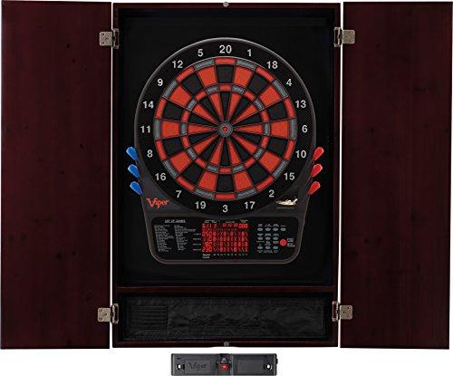 Viper Metropolitan Solid Wood Cabinet & Electronic Dartboard Ready-to-Play Bundle: Elite Set (800 Dartboard, Darts and Laser Throw Line), Mahogany Finish ()