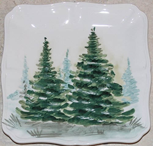 "Maxcera Holiday Christmas Trees Square 8-3/4"" Salad Plates - Set of 4"