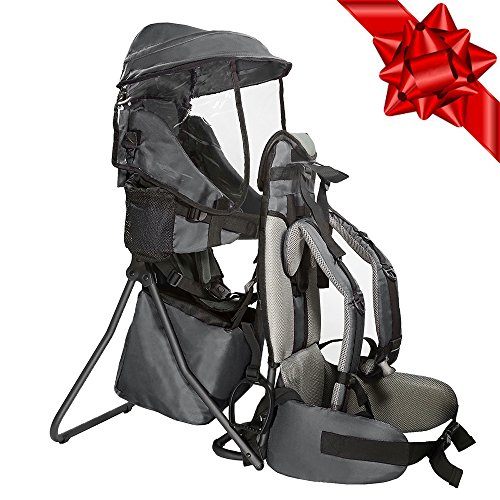 Clevr Cross Country Baby Backpack Carrier with Stand and Sun Visor Shade Child Kid toddler, Grey, Upgraded foot straps | Lightweight - 5lbs by Clevr