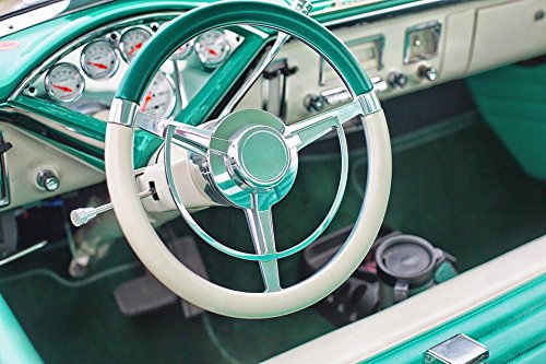 Gifts Delight LAMINATED 36x24 inches Poster: Vintage Car Turquoise Interior Steering Wheel Dashboard 1950S Old Automobile Auto Retro Classic Transportation Stylish Shiny