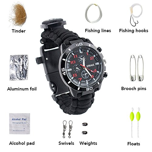 Survival Bracelet Watch,Guardians Paracord Multifunctional Outdoor Survival Kits with 12 tools including Paracord Rope, Compass, Whistle, Rope Cutter, Fire Starter Scraper, Flint