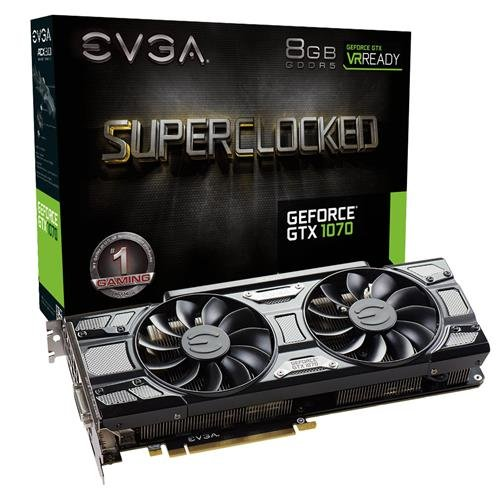 EVGA GeForce GTX 1070 SC GAMING ACX 3.0 Black Edition, 8GB GDDR5, LED, DX12 OSD Support (PXOC) 08G-P4-5173-KR by EVGA