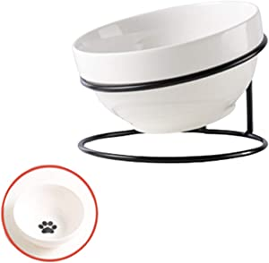 TRUNDISAN Raised Cat Food Bowls,Ceramic,Single Feeding Bowl, Elevated Cat Bowl Tilted Feeding Dishes for Indoor Cats or Dogs,11 oz,with Black Metal Stand,Stress Free,Non Slip,Dishwasher Safe