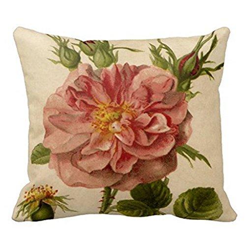 JuMei Pretty Pink Vintage Rose Throw Pillowcase 18