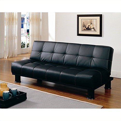 Homelegance Fruitvale Elegant Faux Leather Black Convertible Sofa Bed Lounger